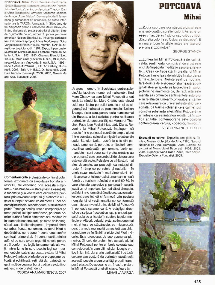 MIHAI POTCOAVA in Enciclopedia artistilor romani contemporani vol. VI 2009 pag.107