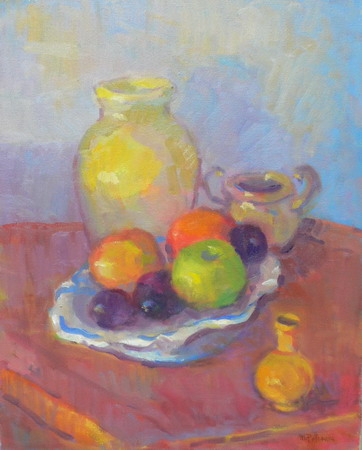 Mihai POTCOAVA - 1092 Yellow vase and fruits 41x51 up 2009