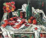 VASILE PARIZESCU - Still life with fruits, flowers and lobsters