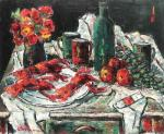 Vasile Parizescu, Still life with fruits, flowers and lobsters