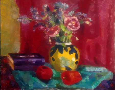 Mihai POTCOAVA - 0512 Flowers in yellow vase 61x76 up 1993