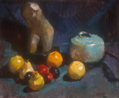 Mihai POTCOAVA - 0546 Still life with statue, fruits and pot 51x61 up 1995