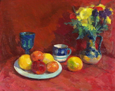 Mihai POTCOAVA - 0579 Still life with red cloth 60x76 up 1996