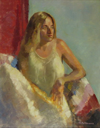 Mihai POTCOAVA - 0502b Girl in white dress 61x76 up 1994