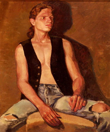 Mihai POTCOAVA - 0529 Young man with vest 75x90 up 1995