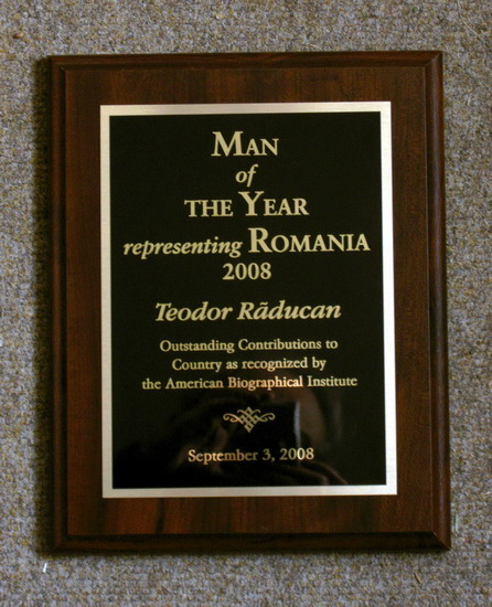 TEODOR RADUCAN - Premiul MAN OF THE YEAR reprezentand ROMANIA 2008